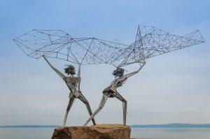 Fishermen sculpture. Petrozavodsk, Russia