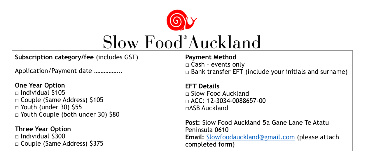Slow Food Auckland, Membership fees slow food,